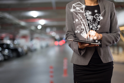 Business woman sending email by using digital tablet
